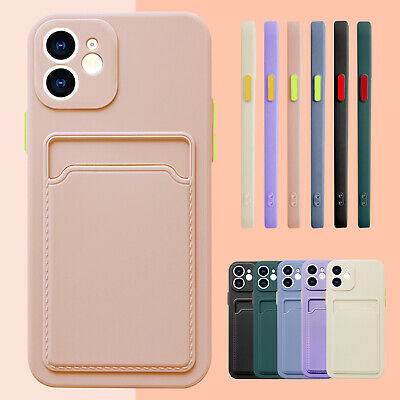 AU7.89 • Buy For IPhone 11 12 Pro Max XS XR 8 7 Liquid Silicone Wallet Card Holder Case Cover