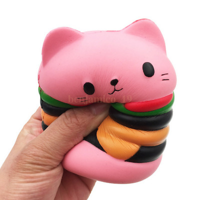 AU17.88 • Buy Toy Stress Cat Burger Relief Slow Rising Simulation Scented Squeeze Food Jumbo