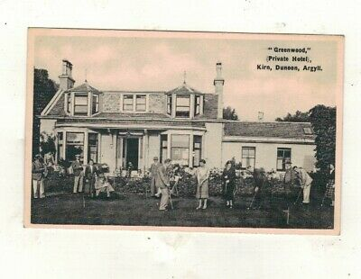 £1 • Buy Greenwood Private Hotel,kirn,dunoon, Croquet On The Lawn. Old Printed Postcard