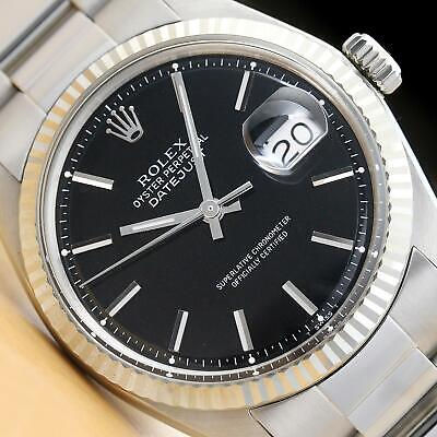 AU6386.25 • Buy Rolex Mens Datejust Black Dial 18k White Gold & Stainless Steel Watch