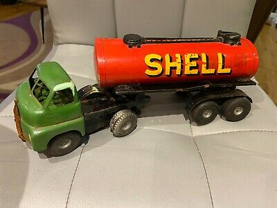 £28 • Buy Rare Vintage Triang Mimic Toys Shell Bp Tanker And Cab Tinplate Push And Go