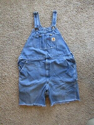 $11.99 • Buy Carhart 100% Cotton Blue Denim Overall Coverall Cut Off Shorts Men's Size XL