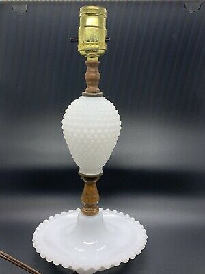 $12 • Buy Hobnail Milk Glass Small Bedside Table LampLight White Vintage Wood Detail Work