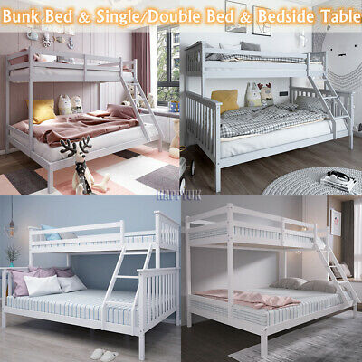 £180.90 • Buy Bunk Bed Frame Wooden Triple Sleeper Bed 3FT Single &4FT6 Double & Bedside Table