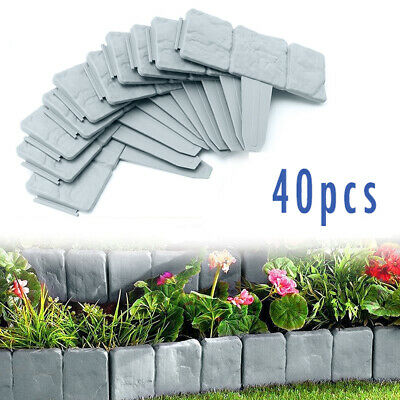 £20.89 • Buy 40 Garden Lawn Cobbled Stone Effect Plastic Edging Plant Border Simply Hammer In