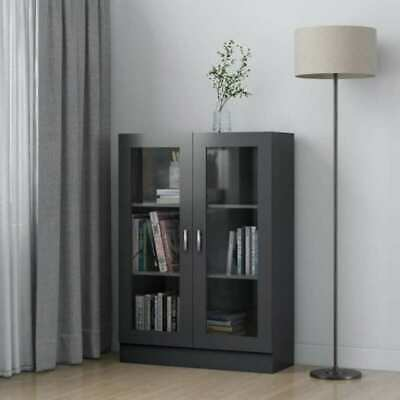 £109.99 • Buy Bookcase Cabinet Shelves Shelving Display Storage Unit W/ Two Glass Doors Grey