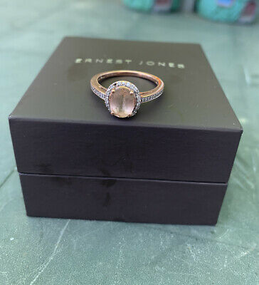 £85 • Buy 9ct Rose Gold Diamond And Morganite Ring Size M - One Small Stone Missing