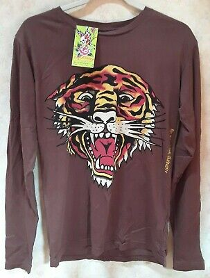 $24.99 • Buy New Mens Size Small Ed Hardy Tiger Brown Long Sleeve T Shirt