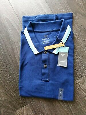 £3.99 • Buy Men's Marks And Spencer Blue Cotton Polo Shirt Size L NWT