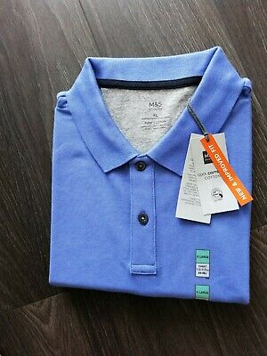 £3.99 • Buy Men's Marks And Spencer Dark Lilac Cotton Polo Shirt Size XL New With Tags