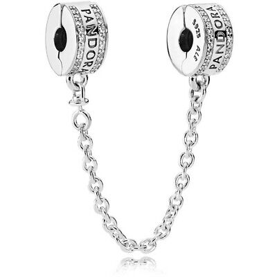 £17.99 • Buy New Genuine Pandora Signature Logo Clip Safety Chain 792057CZ With Gift Pouch