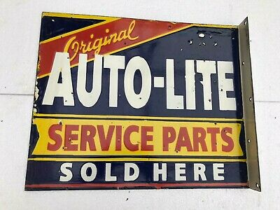 $ CDN187.57 • Buy Auto Lite Service Parts Sold Here Flange 18.5x14 Inches  Porcelain Enamel Sign