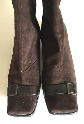 £3 • Buy Brown Faux Suede Gogo Boots Size 2 Knee High And Buckles RETRO. 60's 70's Style