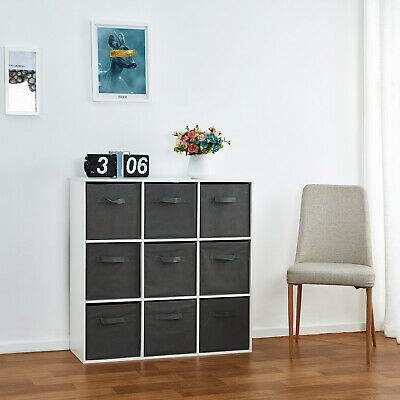 £72.90 • Buy 9 Cube Wooden Bookcase Shelving Unit Display Storage With Foldable Canvas Basket