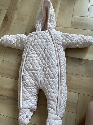£5 • Buy Mamas And Papas Pink Quilted Pramsuit Snowsuit All In One - 0-3 Months WORN ONCE