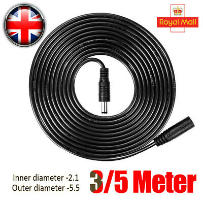 £1.99 • Buy DC Power Supply Extension Cable Connector 12V For CCTV Camera/DVR/PSU Lead 3m/5m