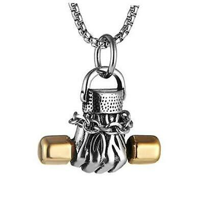 $19.51 • Buy  Men Women Punk Weightlifting Fitness Dumbbell Pendant Stainless Silver & Gold