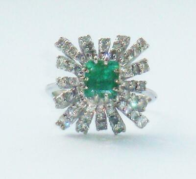 £780 • Buy STUNNING ANTIQUE OLD VINTAGE DECO 1ct DIAMOND & EMERALD VERY LARGE GOLD RING