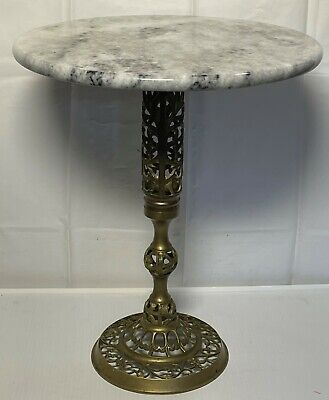 AU135.87 • Buy Hollywood Regency Marble Top Table Italian Round Stand Reticulated Brass Base