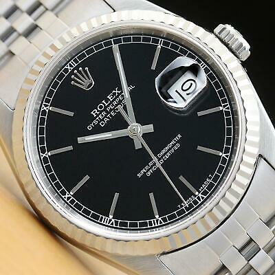 $ CDN7870.94 • Buy Rolex Mens Datejust 16234 Black Dial 18k White Gold & Stainless Steel Watch