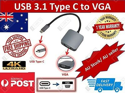 AU8.99 • Buy USB 3.1 Type C Male To VGA Female Adapter Cable VGA Adapter