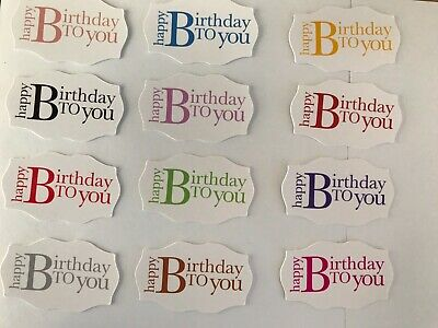 £2 • Buy Card Toppers X 12 Embellishments/toppers/card Making - Happy Birthday To You