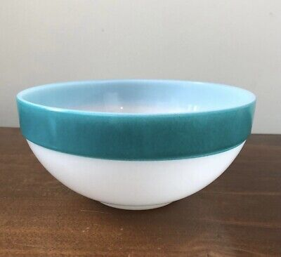 $20 • Buy Vintage Fire King Colonial Band Turquoise Stripe Mixing Bowl