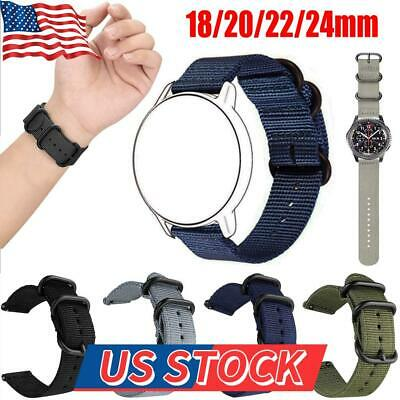 $6.57 • Buy Woven Nylon Watch Band Sport Strap 18/22/20/24mm Canvas Strap Military Bands US