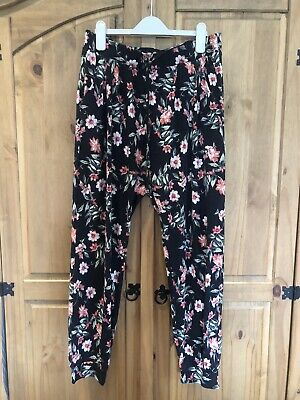 £0.99 • Buy Womens Next Black Patterned Summer Trousers Size 12 EXC CDTN