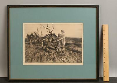 £15.46 • Buy 1935 Antique JOHN COSTIGAN Social Realist DUST BOWL Etching Workers In The Field