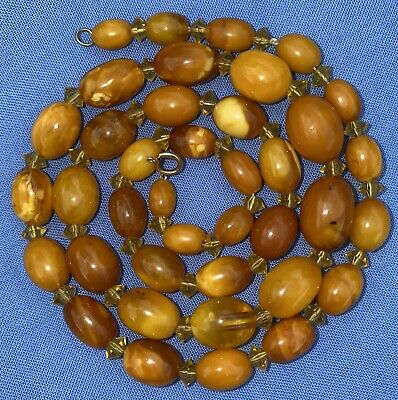 £41 • Buy Beautiful Antique Butterscotch Egg Yolk Amber Bead Necklace 20.5 Inches Long