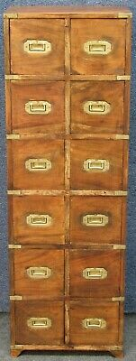 £295 • Buy Military Style Solid Yew Wood Brass Bound Tall Narrow 12 Drawer Collectors Chest
