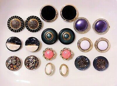 $ CDN1 • Buy Lot Of 10 Pc Vintage Clip On Earrings Mix Of  Gold Silver Tone With Accents