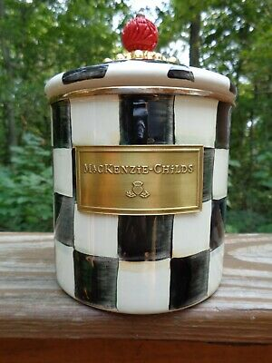 $30 • Buy Mackenzie Childs Enamel Courtly Check Canister, Small, Damaged