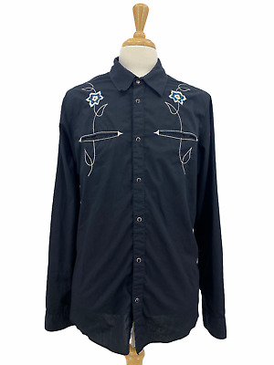 $33 • Buy Hurley Men's Western Black Long Sleeve Button Shirt Embroider Snap Buttons XL