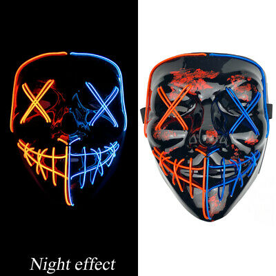 $ CDN17.70 • Buy Men Neon Stitches LED Mask Wire Light Up Costume Purge Party Cosplay Anonymous