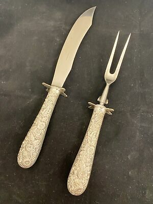 £211.66 • Buy K Kirk & Son Repousse Carving Fork Knife Set Sterling Silver Stainless Steel