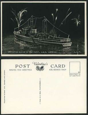 £7.99 • Buy H.M.S. SURPRISE, Coronation Review Of Fleet Fireworks Night Warship Old Postcard