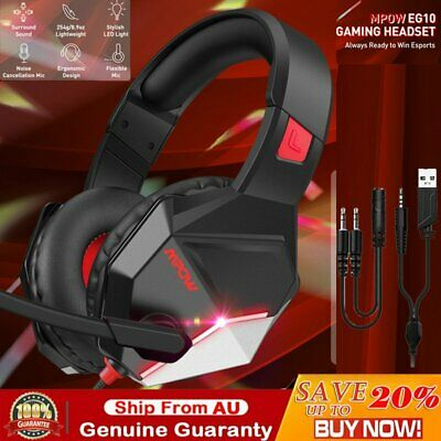 AU32.69 • Buy Mpow EG10 Game Headphones Gaming Headset Surround Mic For PC Laptop Xbox One PS4