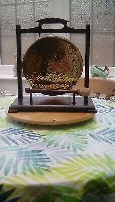 £19 • Buy Vintage Brass/copper Dinner Gong On Wooden Stand With Beater