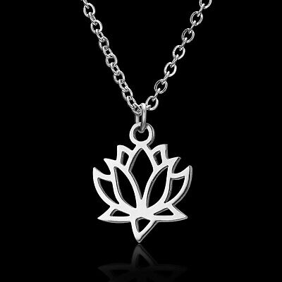 $ CDN0.20 • Buy Necklace Lotus Flower Charm Stainless Steel Silver Pendant Chain Jewelry Women