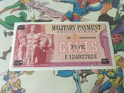 $9.99 • Buy US 5 Cent Military Payment Certificate Series 692! NEAR MINT Condition!