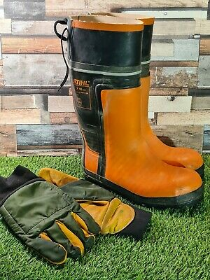 £59 • Buy STIHL Wellies Rubber Boots Chainsaw Boots Class 3 Size UK 9 EU 43 & Gloves