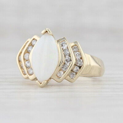 AU525.05 • Buy Opal Diamond Gemstone Ring 14k Yellow Gold Size 7.25 Marquise Solitaire
