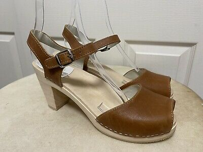 $50 • Buy Maguba Sweden Bologna Brown Leather Women's Clogs Sandals High Heels 41 11 New!