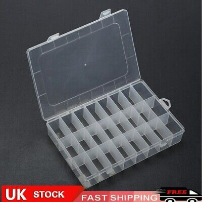 £5.12 • Buy Clear Plastic Storage Organiser Compartment Craft Beads Jewellery Tool Box Case*