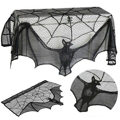 $ CDN6.28 • Buy Halloween Decoration Lace Spider Web Bat Scary Props Fireplace Mantle Cover