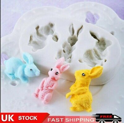 £4.84 • Buy Rabbit Bunny Silicone Cake Fondant Mold Wax Clay Soap Candle Making Mould 3D