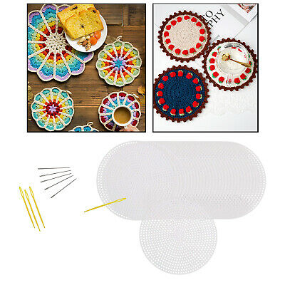 £6.60 • Buy 30Pcs Circle Mesh Plastic Canvas Sheets With Sewing Needles For Embroidery