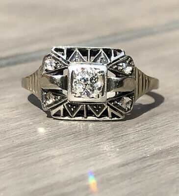 £550 • Buy Antique Art Deco Ring 14ct White Gold And Diamond Size O